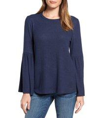 women's gibson bell sleeve cozy fleece pullover, size medium - blue