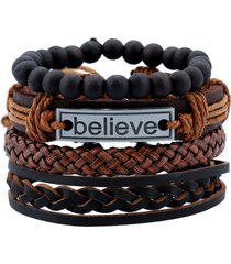 braccialetto in pelle vintage credere parole gioielli fascino multistrato tessuto perline gioielli per uomo
