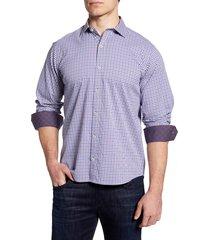 men's bugatchi shaped fit check button-up performance shirt, size small - purple