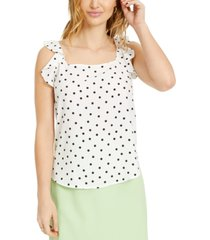 bar iii dot-print ruffled woven top, created for macy's