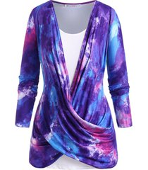 tie dye cowl twisted front plus size top set
