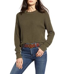 women's treasure & bond thermal stitch pullover, size large - green