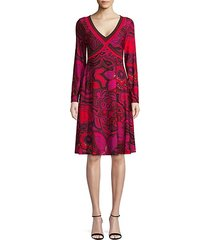 linda floral long-sleeve flare dress