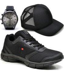 tênis masculino ultraleve treino academia + boné + relógio - masculino