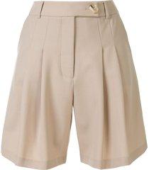 anna quan oscar pleated shorts - brown