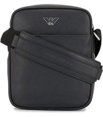 emporio armani bolsa tiracolo com placa de logo - preto