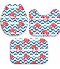 kit 3 tapetes decorativos para banheiro wevans flamingos azul