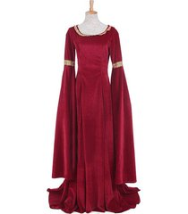 women's red blue medieval renaissance victorian costume evening ball gowns dress