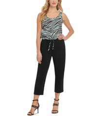 dkny mixed media printed jumpsuit