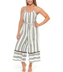 dotti newport stripes belted jumpsuit cover-up women's swimsuit