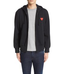 men's comme des garcons play zip-up hoodie, size small - black