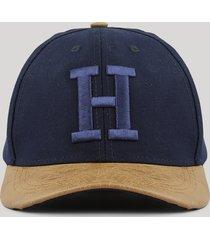 """boné """"h"""" azul marinho"""