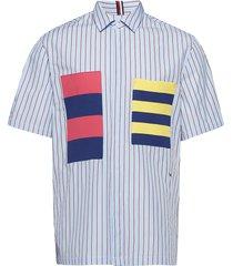 hcm knitted pocket s kortärmad skjorta blå hilfiger collection