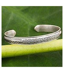 sterling silver cuff bracelet, 'hill tribe song of love' (thailand)