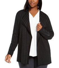 belldini plus size faux-leather-trim cardigan