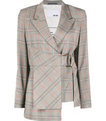 each x other checked side buckle blazer - grey