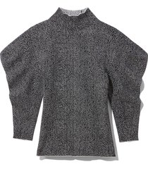 viscose jacquard draped sleeve pullover in black/off white