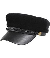 berretto da donna elegante stile francese in velluto patchwork berretto da pescatore cappello berretto blu scuro