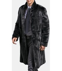 cappotto lungo da uomo in velluto lungo di trench di velluto nero