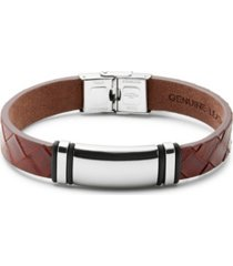 men's brown woven leather id bracelet