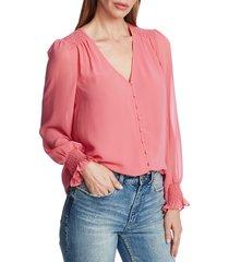 women's 1.state smocked detail button-up blouse, size medium - pink