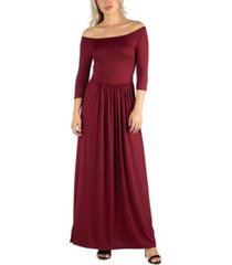 24seven comfort apparel women's off shoulder pleated waist maxi dress