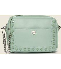 motivi borsa a tracolla in similpelle e borchie donna verde