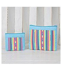 cotton blend cosmetic bags, 'exotic lisu in sky blue' (pair) (thailand)