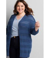 lane bryant women's open-stich overpiece sweater 26/28 bijou blue