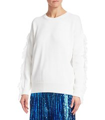 fringe sleeve cableknit sweater