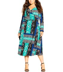 city chic trendy plus size patchwork-print midi dress