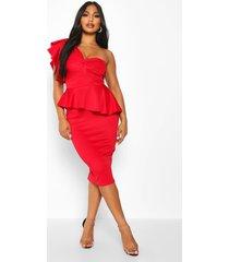 peplum midi jurk met open schouders, rood