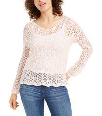 freshman juniors' pointelle-knit strap-back sweater