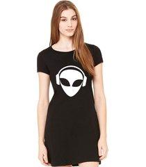 vestido criativa urbana estampado divertido alien dj preto