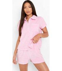 tall badstoffen terry overhemd en shorts set, pink
