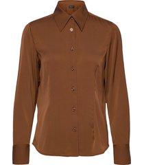 satin stretch - lotte bc blouse lange mouwen bruin sand
