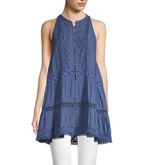 eyelet-trim button-front tunic