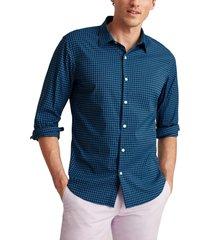 men's bonobos tech slim fit check stretch button-up shirt, size medium r - blue