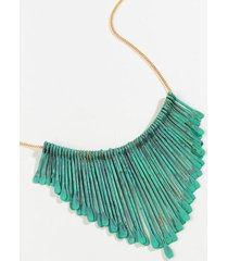 colette fringe statement necklace - blue