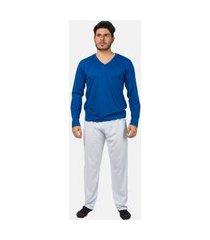 conjunto pijama masculino básico manga longa part.b azul e branco