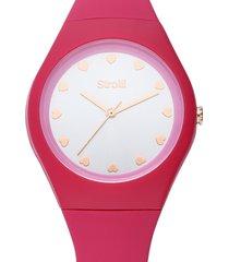 santa clara - orologio cinturino rosa in policarbonato, quadrante argento per donna