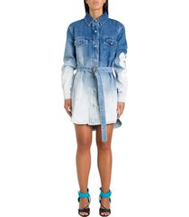 off-white bleached denim pinafore dress