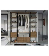 conjunto de 3  estantes guarda roupa p/ closet  c/ 8 gavetas - vermont/preto -  industrial - artesano