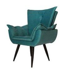 poltrona decorativa emília plus pés tabaco suede azul turquesa - ds móveis