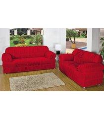 capa de sofá atual 1, 2 e 3 lugares vermelho com 3 peças malha elástica - aquarela - kanui