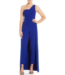 aidan by aidan mattox crepe one-shoulder jumpsuit
