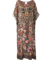 camilla mixed-print kaftan dress - brown