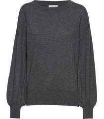 balloon sleeve sweater stickad tröja grå davida cashmere