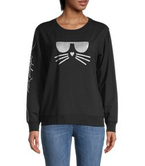 karl lagerfeld paris women's shimmer choupette graphic sweatshirt - black silver - size xxs
