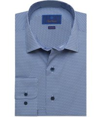 men's big & tall david donahue fusion stretch print dress shirt, size 18 - blue
